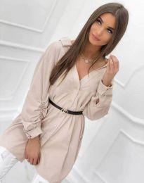 Дълга дамска риза с дълъг ръкав в  бежово - код 0227