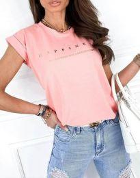 Тениска в розово с блестящ надпис - код 1560