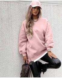 Дамска свободна спортно-елегантна туника с ципове в розово - код 4972