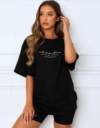 Дамски спортен сет тениска и клин в черно - код 4350