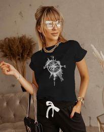 Тениска с ефектен принт в черно - код 3245