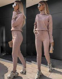 Дамски екип с поло блуза и елегантен спортен панталон в цвят пудра - код 6394