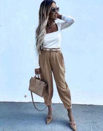 Дамски панталон с колан в цвят капучино с широка кройка - код 2109
