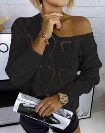 Дамски пуловер с едра плетка в черно - код 4781