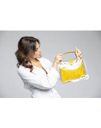 Дамска чанта в жълто с прозрачна външна част - код YF - D2025