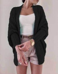 Дамска плетена свободна жилетка в черно - код 5128