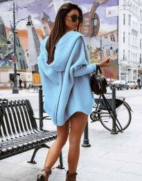 Дамска свободна плетена жилетка с качулка в синьо - код 4760