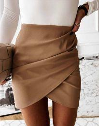 Дамска къса пола с висока талия в цвят капучино - код 4906