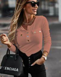Ефектна дамска блуза рипс с копчета в цвят корал - код 11516
