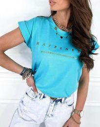 Тениска в синьо с блестящ надпис - код 1560