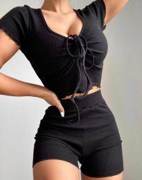 Дамски комплект тениска и къси панталонки рипс в черно - код 1086