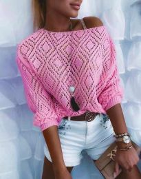 Дамска блуза от плетиво с голо рамо в розово - код 4701