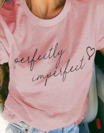 Тениска в розово с принт - код 4363