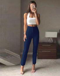 Елегантен дамски панталон с висока талия в тъмносиньо - код 3128