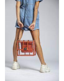 Дамска чанта в оранжево елегантен модел с прозрачна външна част - код LS543