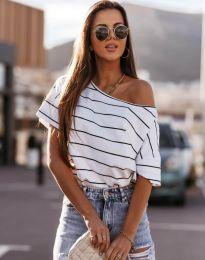 Раирана дамска тениска в бяло - код 5865