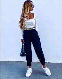Дамски панталон с колан в тъмносиньо с широка кройка - код 2109