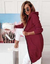 Дамско яке в цвят бордо макси кройка с цип - код 0266