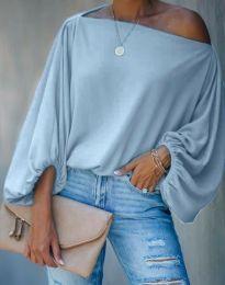 Дамска елегантна блуза с ефектни ръкави в светлосиньо - код 0741