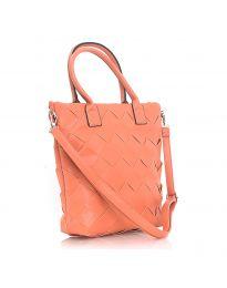 Дамска чанта в оранжево с ефект преплетена кожа - код LS594 - дълга дръжка