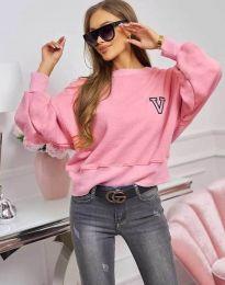 Свободна спортно-елегантна дамска блуза в розово - код 4391